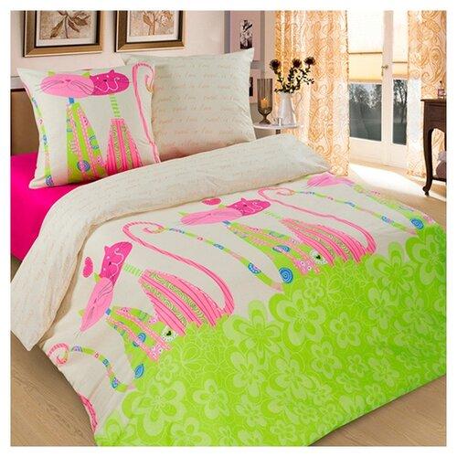 Постельное белье 1.5-спальное Традиция Дай поспать 3825 Кошки бязь, 70 х 70 см зеленый/бежевый/розовый