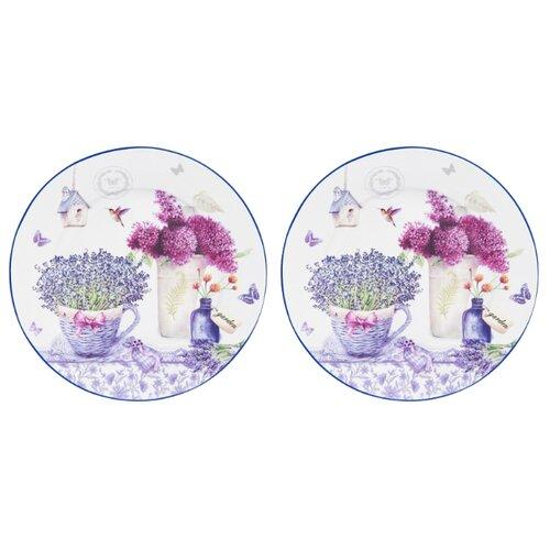 Elan gallery Набор десертных тарелок Лаванда 19см, 2 шт белый/сиреневый набор салатников elan gallery белое кружево 2 предмета