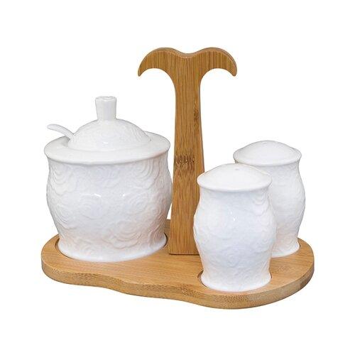 Elan gallery Сахарница и набор для специй Белые розы набор аксессуаров для ванной elan gallery elan gallery mp002xu02i2u