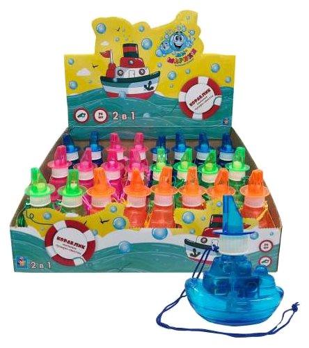 Мыльные пузыри 1 TOY Мы-шарики! Кораблик со свистком, 80 мл Т11539