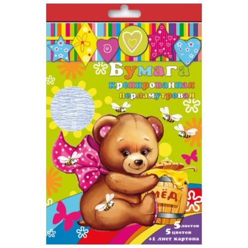 Купить Набор цветного картона и цветной бумаги крепированной перламутровой 31378 Феникс+, A4, 6 л., 5 цв., Цветная бумага и картон