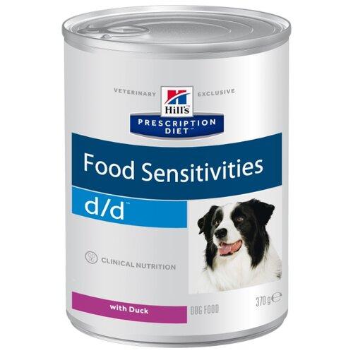Фото - Влажный корм для собак Hill's Prescription Diet D/D Food Sensitivities при дерматологических заболеваниях, при аллергии, утка 370г корм для собак hill s prescription diet canine z d ultra при пищевой аллергии конс 370г