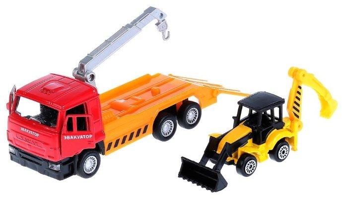Набор машин ТЕХНОПАРК Камаз эвакуатор + погрузчик-экскаватор (SB-17-24-L-WB) 12 см красный/оранжевый
