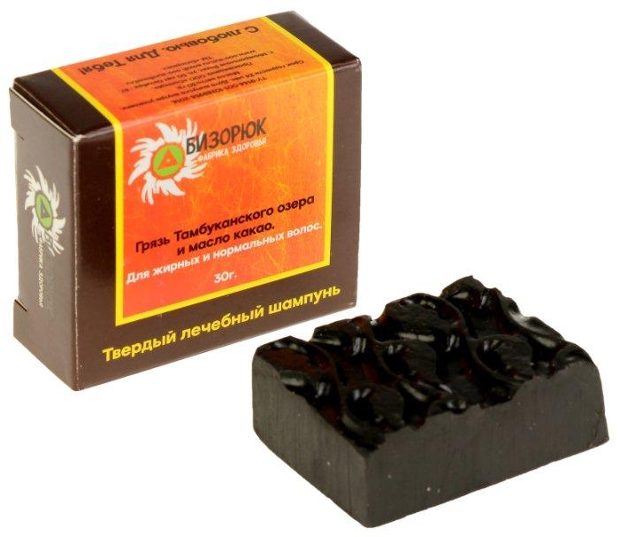 Бизорюк твердый шампунь Грязь Тамбуканского озера и масло какао для жирных и нормальных волос, 30 г