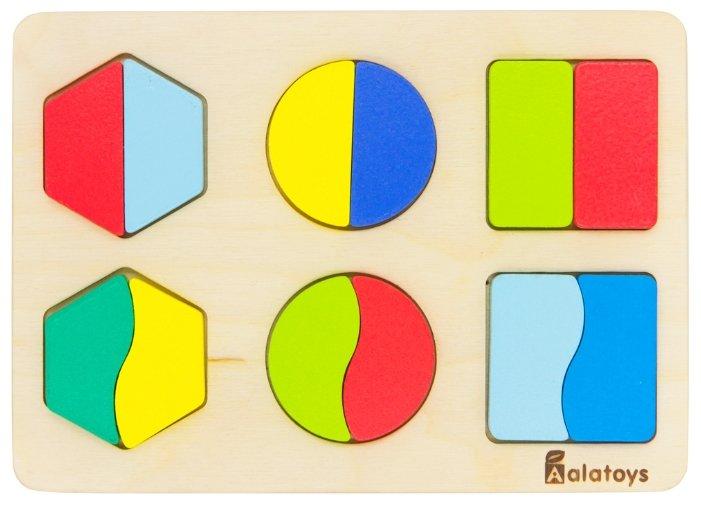 Рамка-вкладыш Alatoys Дроби-фигуры (ДР1501), 12 дет.