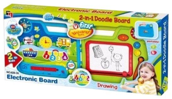 Доска для рисования детская JUNnew двусторонняя с чемоданчиком (628-39)