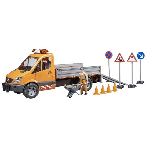 Купить Грузовик Bruder Mercedes-Benz Sprinter (02-537) дорожная служба 1:16 40.8 см оранжевый/серый, Машинки и техника