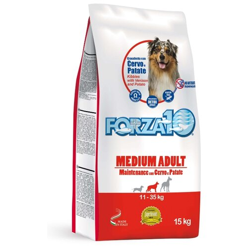 Сухой корм для собак Forza10 оленина с картофелем 15 кг (для средних пород) сухой корм для собак forza10 best breeders 26 15 для здоровья кожи и шерсти оленина с картофелем 20 кг