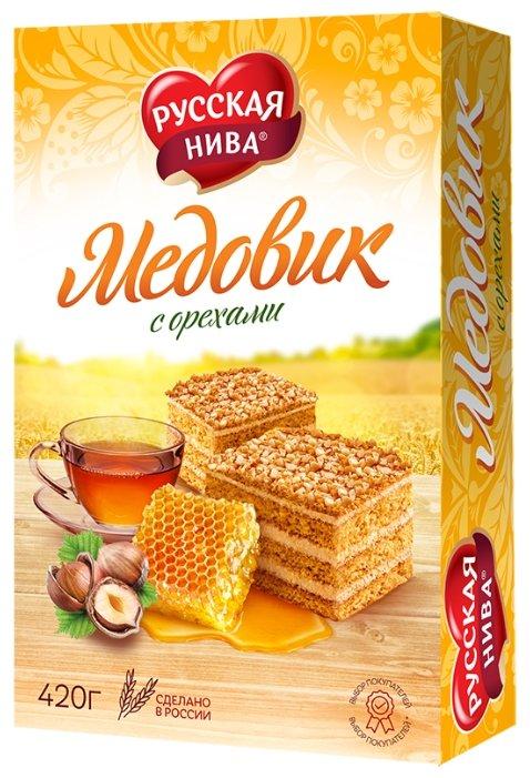 Торт Русская нива Медовик с орехами