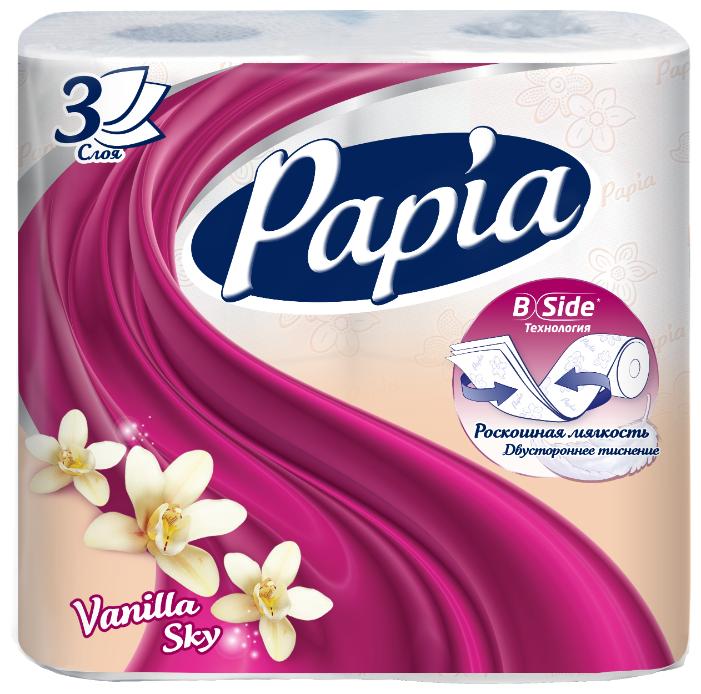 Туалетная бумага Papia Vanilla sky белая трёхслойная