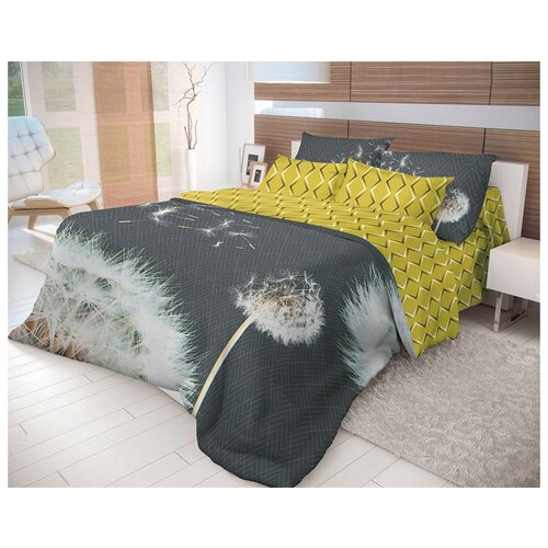 цена Постельное белье 1.5-спальное Волшебная ночь Dandelion 702174 ранфорс черный/желтый онлайн в 2017 году