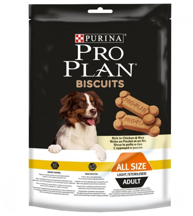 Лакомство для собак Pro Plan Biscuits с курицей и рисом для склонных к избыточному весу или стерилизованных собак