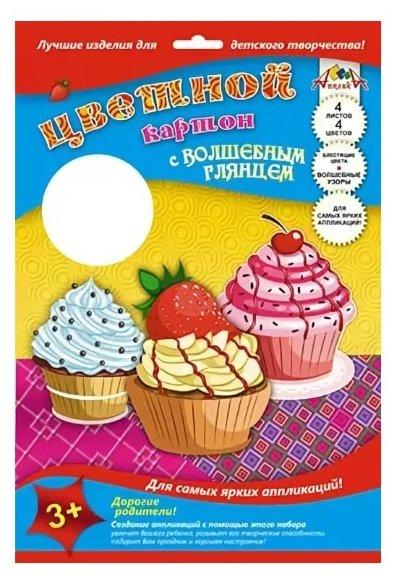 Цветной картон Кексики Апплика, A4, 4 л., 4 цв.
