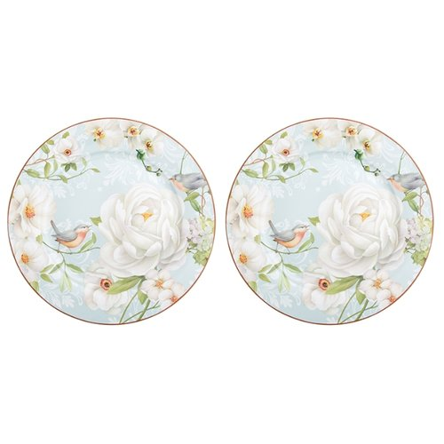Elan gallery Набор круглых тарелок Дикая роза 26 см, 2 шт белый/голубой набор тарелок 19 см фредерика роза перламутр 6 шт