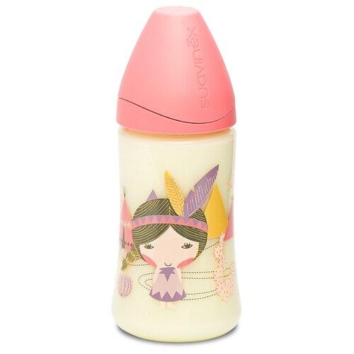 Купить Suavinex Бутылочка полипропиленовая с силиконовой круглой соской 270 мл Индеец с рождения, розовый, Бутылочки и ниблеры
