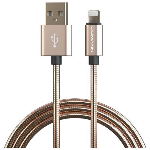 Кабель Qumann USB - Lightning 1 м золотистый кабель a data lightning usb для iphone ipad ipod 1м золотистый amfial 100cmk cgd