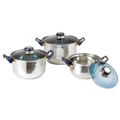 Набор кастрюль Bekker Classic BK-950 / BK-951 / BK-952 6 пр. серебристый/синий по цене 1 590