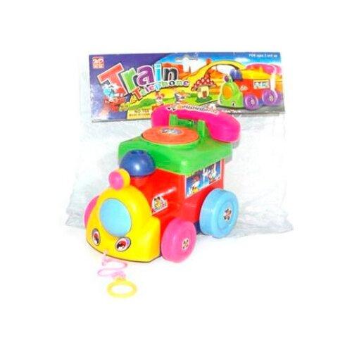Купить Каталка-игрушка Наша игрушка Паровозик с телефоном (100959118) зеленый/красный/желтый, Каталки и качалки