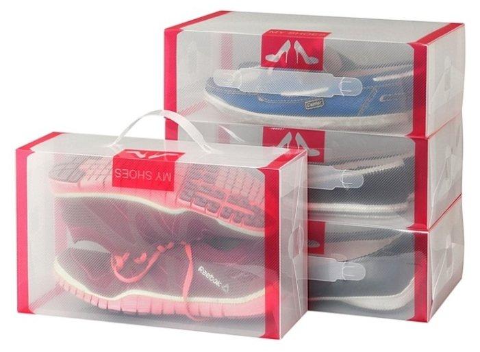 Купить EL CASA Набор коробок для хранения обуви 18х30х10 см красный/прозрачный по низкой цене с доставкой из Яндекс.Маркета