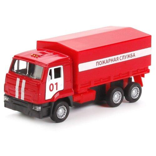 Купить Грузовик ТЕХНОПАРК КамАЗ 65207 Пожарная служба (SB-16-89-B1-WB) 12 см красный, Машинки и техника