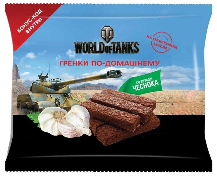 United Food Group гренки World of Tanks по-домашнему пшенично-ржаные с натуральным чесноком, 80 г
