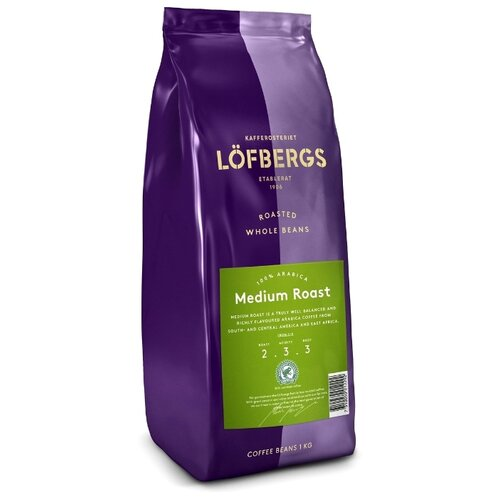 Кофе в зернах Lofbergs Medium Roast, арабика, 1000 г кофе молотый lofbergs medium roast in cup 250 г