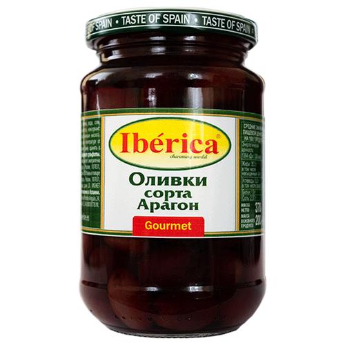 Iberica Оливки сорта Арагон в рассоле, стеклянная банка 370 гМаслины, оливки, каперсы консервированные<br>