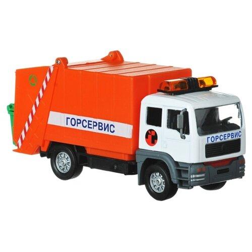 Купить Мусоровоз ТЕХНОПАРК Горсервис (CT-1223G) 1:43 14.5 см красный, Машинки и техника