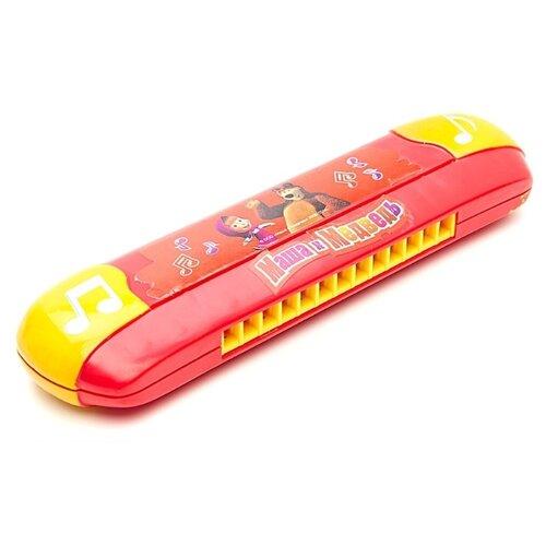 Купить Играем вместе губная гармошка Маша и Медведь B323587-R2 красный/желтый, Детские музыкальные инструменты