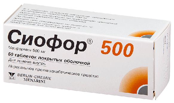 Сиофор 500 таб. п/о 500 мг №60