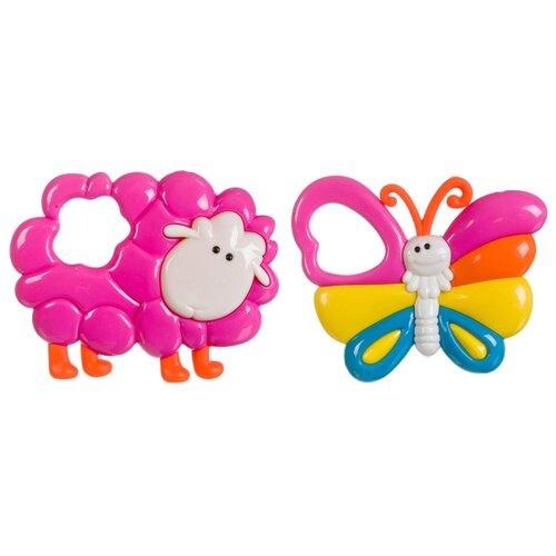 Купить Набор BONDIBON Бабочка и Овечка розовый, Погремушки и прорезыватели