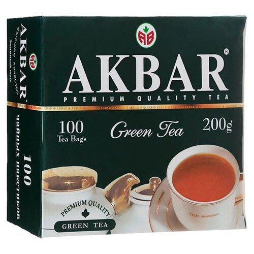 Чай зеленый Akbar Green Tea в пакетиках, 100 шт.