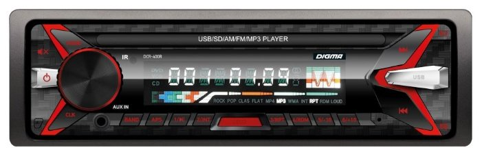 Автомагнитола DIGMA DCR-400R, USB, SD/MMC