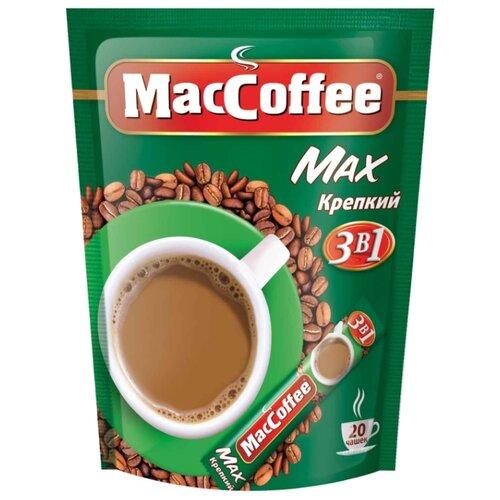 Растворимый кофе MacCoffee Max Крепкий 3 в 1, в стиках (20 шт.)