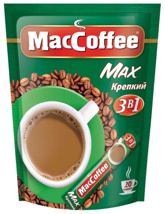 Растворимый кофе MacCoffee Max Крепкий 3 в 1, в стиках