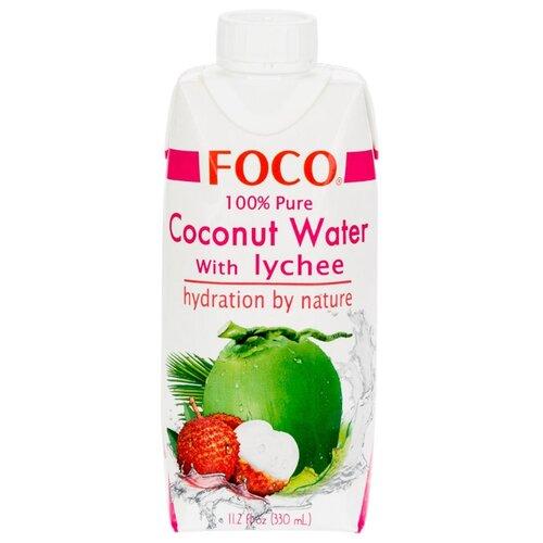 Вода кокосовая FOCO с соком личи, без сахара, 0.33 л