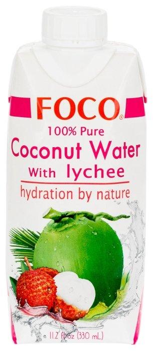 Вода кокосовая FOCO с соком личи, без сахара