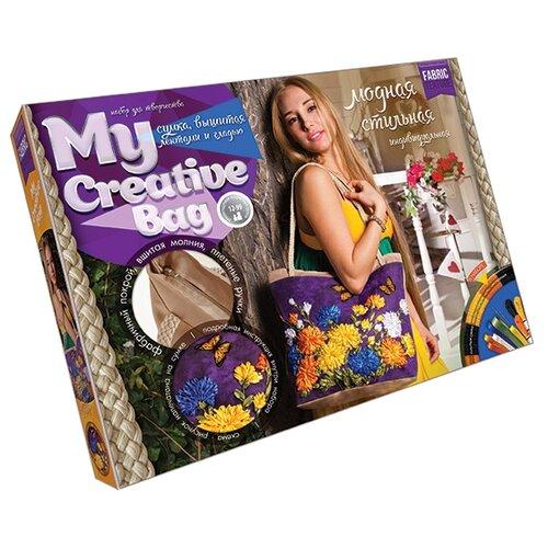 Купить Danko Toys Набор для вышивания гладью, лентами и бисером My creative bag Астры (MCB-01-04), Наборы для вышивания