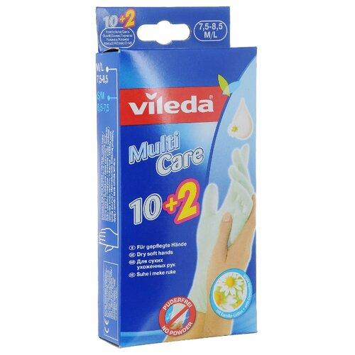 Перчатки Vileda Multi Care одноразовые, 6 пар, размер M/L, цвет голубой перчатки vileda style 1 пара размер l цвет розовый
