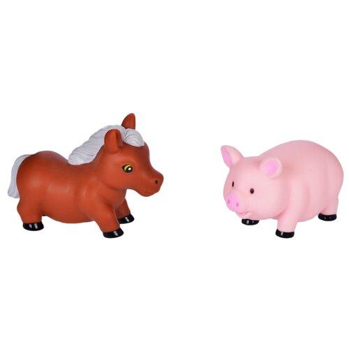 Купить Набор для ванной Жирафики Лошадка и свинка (681267) коричневый/розовый, Игрушки для ванной