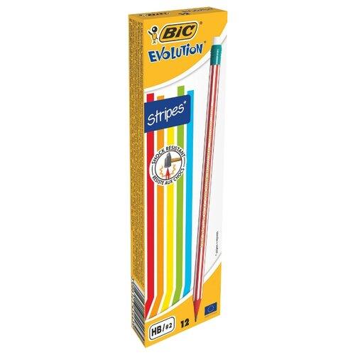 Купить BIC Набор чернографитных карандашей Evolution Stripes 12 шт (8960342), Карандаши