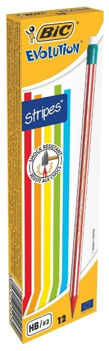 BIC Набор чернографитных карандашей Evolution Stripes 12 шт (8960342)