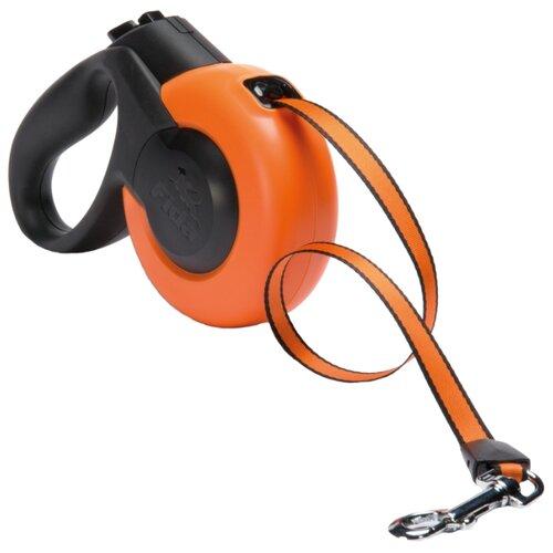 Поводок-рулетка для собак Fida Mars ленточная (L) оранжевый/черный 5 мПоводки для собак<br>