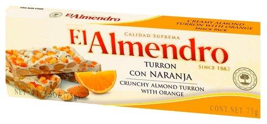 Нуга El Almendro Туррон хрустящий миндальный с апельсином 75 г