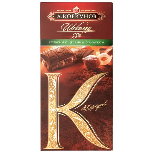 Шоколад Коркунов горький с цельным фундуком, 90 гШоколадная плитка<br>
