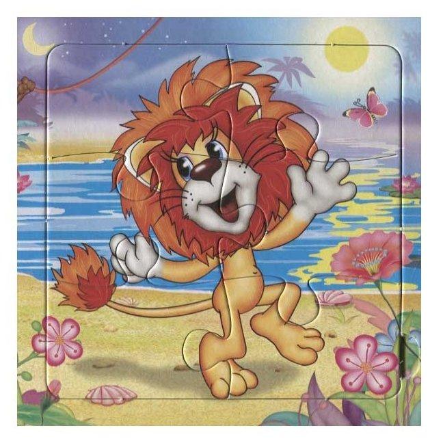 Летием, открытка с львенком и черепахой