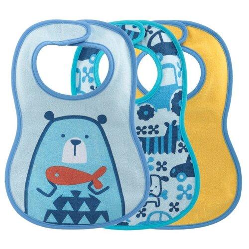 Купить Chicco Комплект нагрудников Easy Meal 6м+ (3 шт), 3 шт., расцветка: медведь/голубой/желтый, Нагрудники и слюнявчики