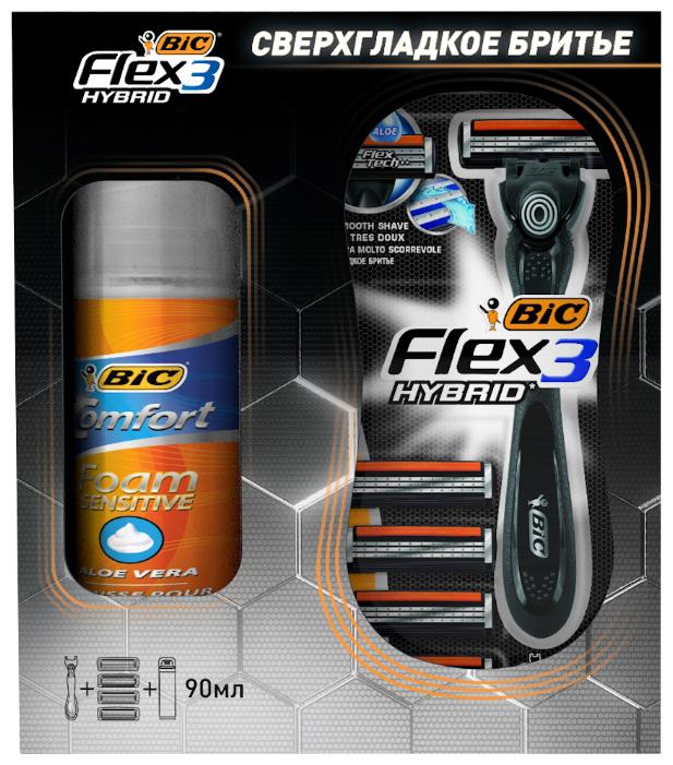 Набор Bic бритва Flex 3 Hybrid, пена для бритья Comfort Sensitive 90 мл, кассеты