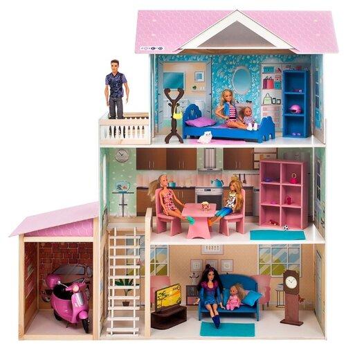 Купить PAREMO кукольный домик Розали Гранд (с мебелью) PD318-11, розовый/голубой/белый, Кукольные домики
