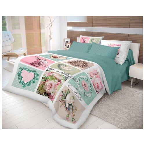 Постельное белье евростандарт Волшебная ночь Frame 704071 ранфорс белый/розовый/зеленыйКомплекты<br>